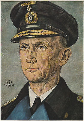 GERMAN WW2 MILITARY POSTCARD-UBoat Admiral Donitz-Reproduction