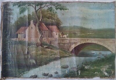 ANTIQUE UNSIGNED Oil on Canvas Distressed Horse Rider Landscape Painting 19-20 C