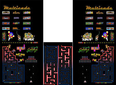 Multicade Full Sideart and kickplate: Fits Ms Pacman/ Galaga/ Pac-Man cabinet
