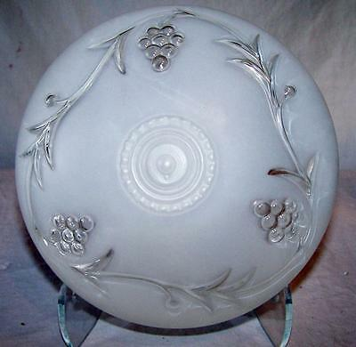 VINTAGE Art Deco Frosted Glass Ceiling Light Cover Globe Shade Grape Design