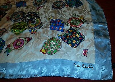 Pierre Cardin large scarf butterfly design blue pink yellow white green fun