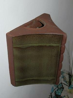 Unusual Vintage Large Wall Pocket Vase Triangle Shape Studio Pottery Green Glaze
