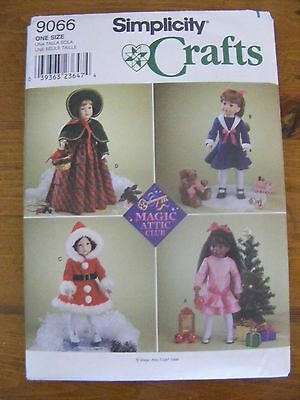 """1999 Simplicity Magic Attic 18"""" Doll Clothes Pattern # 9066 Fits American Girl"""