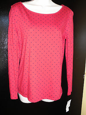 NWT Liz Claiborne Red with Black Dots Knit  Long Sleeve Top/Shirt--Size Small
