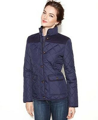 $150 New Tommy Hilfiger Diamond Quilted Zip Front Jacket Bomber Barn XS Navy