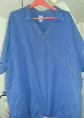 LIZ & ME ESSENTIALS 5X NAVY BLUE TOP DECORATED WITH RIVETS V NECK ~ WOMAN'S PLUS