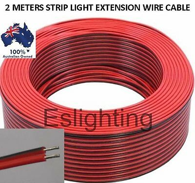 2M Meters 12V Led Strip Light Red Black Flexible Extension Connector Wire Cable