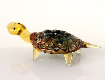 Blown Glass Sea Turtle Figurine, Russian Murano Art Hand Lampwork Miniature