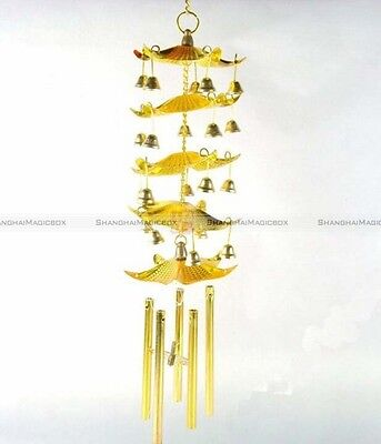 Lucky Golden Chinese Feng Shui Windchime 5 Pagoda Bell Wind Chime