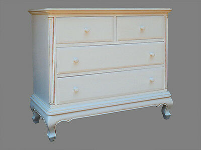French Chateau  Style Reproduction 4 Drawer Chest Painted Antique White