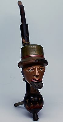 """Possible 1940s 11""""Hand Carved/Painted German Folk Art Wood Face Pipe xwms004"""