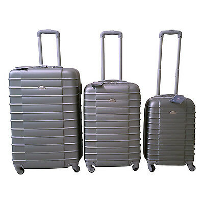 Silver Luggage Set 4 Wheel Spinner Rolling 3 Piece Lightweight Hardcase Luggage