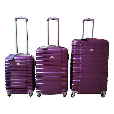 Purple Luggage Set 4 Wheel Spinner Rolling 3 Piece Lightweight Hardcase Luggage
