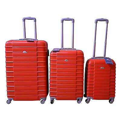 Orange Luggage Set 4 Wheel Spinner Rolling 3 Piece Lightweight Hardcase Luggage