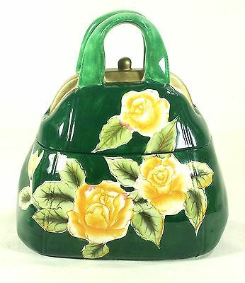 Davids Cookie Jar Purse Green Canister Yellow Roses 10 x 9 x 5