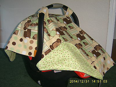 Handmade Baby Infant Car Seat Canopy-Cover Cute Monkeys