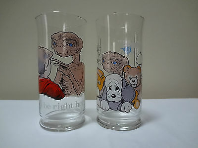 Lot of 2 Universal City Studios E.T.Collector Series Glasses from Pizza Hut 1982