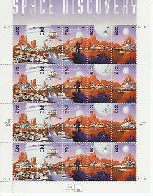 SPACE DISCOVERY STAMP SHEET -- USA, #3238-42 32 CENT SPACE