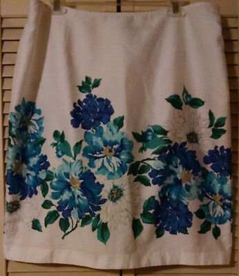 COVINGTON SIZE 16 WHITE WITH TEALS & BLUES LINED STRAIGHT PENCIL SKIRT