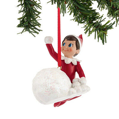Department 56 Elf On The Shelf  Elf Throwing Snowballs Ornament 4039735