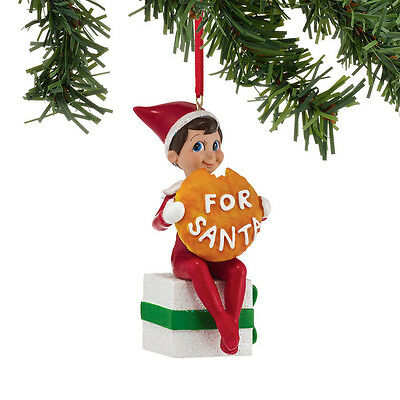 Department 56 Elf On The Shelf   Elf With Santa's Cookie Ornament 4039733