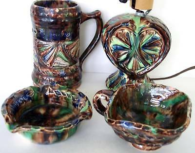 Collection 4 pieces Real Workum Dutch Chip Carved Earthenware Ceramics Pottery