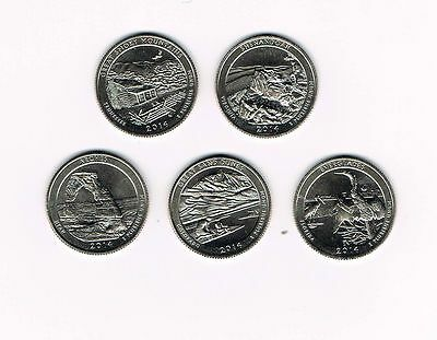 2014 S AMERICA THE BEAUTIFUL NATIONAL PARK QUARTERS - ALL 5 UNC. U.S.MINT COINS