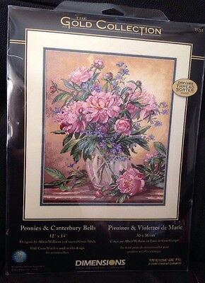 Dimensions Gold Counted Cross Stitch Kit Peonies & Canterbury Bells 35211 New