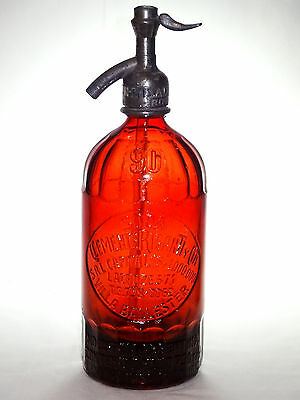 OLD VINTAGE RUBY RED SYPHON sifone siphon SODA WATER Seltzer 1 liter bottle