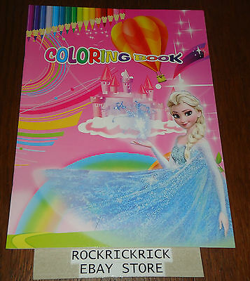 Frozen 16 Page Coloring Book + 2 Pages Of Stickers (Brand New)