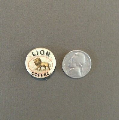 Antique 1890s Pinback Lion Coffee Company Advertising Pin Button