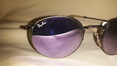 Ray-Ban Round Metal Pink Flash Lens Bronze Matte Frame 3447 Perfect Condition