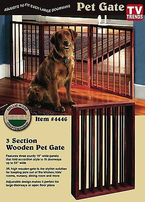Folding Wood Pet Gate- 3 Sections, New, Free Shipping