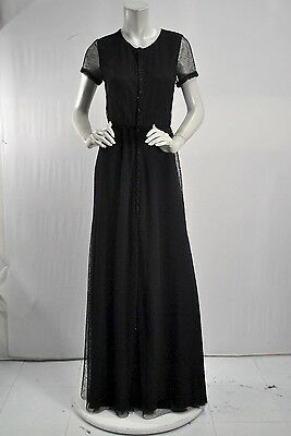Holmes & Yang Beaded Trim Snap Front Dress NEW sz 6 Black Mesh Gown $2,850