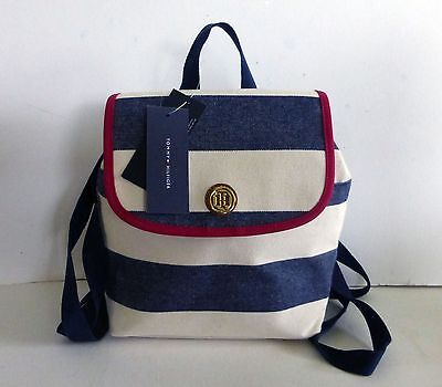 Tommy Hilfiger Navy Blue Off-White Denim Stripe Rugby Small Backpack, NWT