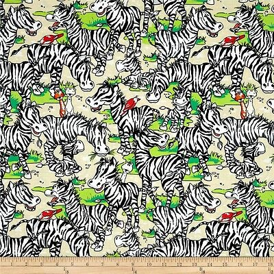 Zany Zoo Zebras - adults and babies - FabriQuilt - by the 1/2 YARD