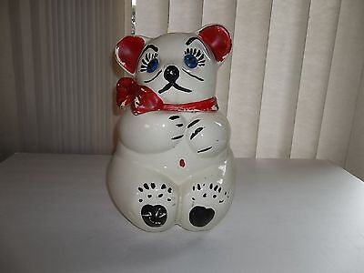 """INCREDIBLE ANTIQUE 12"""" """"BEAR"""" COOKIE JAR AMERICAN POTTERY BISQUE COLLECTIBLE"""