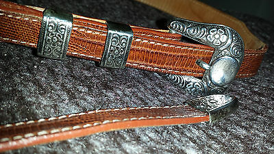Max Lang of Houston Sterling Silver Buckle With Genuine Lizard Belt