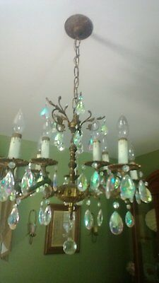 Beautiful Vintage Brass Crystal Chandelier 5 arm with 10 lights- Made in Spain