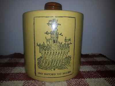 Vintage Monmouth pottery Cookie SNACK Jar Canister CROCK TAN BROWN PIRATE SHIP