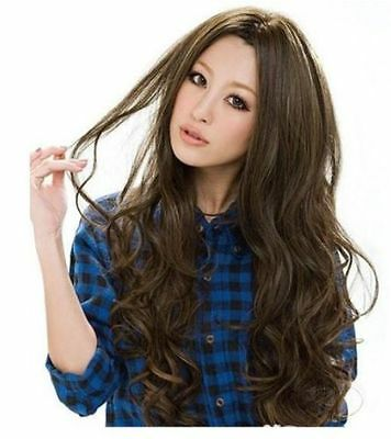 Newest Style Womens Girls Sexy Long Fashion Curly Full Wavy Hair Wig Light Brown