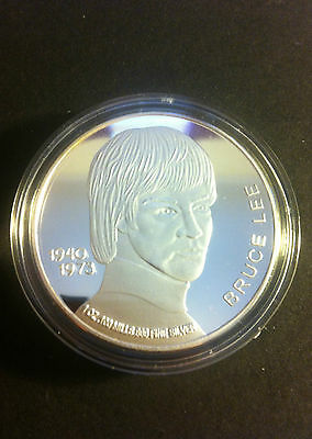 """1 OZ """"Bruce Lee"""" 1940 - 1973 Comm Coin Finished in 999 Fine Silver"""