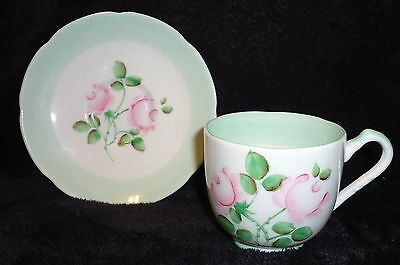 Vintage Adderley Tea Cup and Saucer, Mint Green and Pink Rose, England NICE SET!