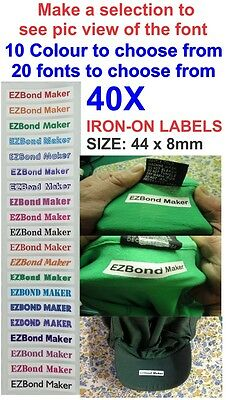 40x Iron-On Colour Name Labels Tags Printed, 20 fonts Selection - Size: 44x 8mm