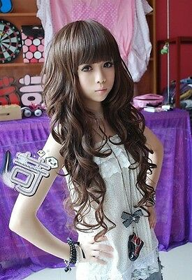 Vogue Sexy Girls Fashion Style Light Brown Wavy Curly Long Hair Women Full Wigs