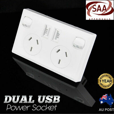 Dual USB Australian Power Point Home Wall Power Supply Socket SAA Approval