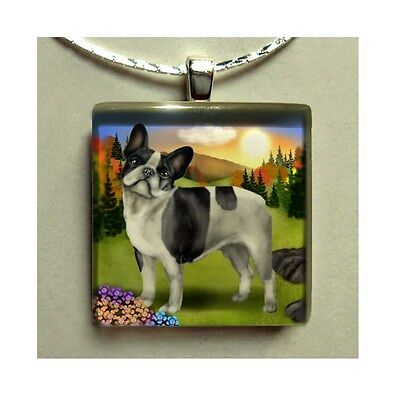 FRENCH BULLDOG DOG FALL NECKLACE JEWELRY ART GIFT GLASS TILE PENDANT WITH CHAIN