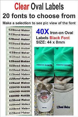 40x Oval Clear Labels - Black Font - Iron On Name Labels Printed -Size: 44x8mm