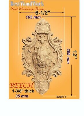 "Wooden carved decor with Lion Head 12"" x 6-1/2"" x 1-1/4"""
