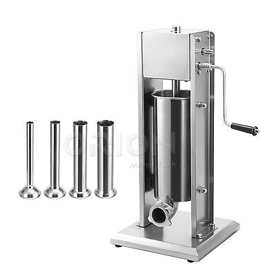 5L Commercial Stainless Steel Sausage Stuffer 15lbs Meat Filler Dual Speed